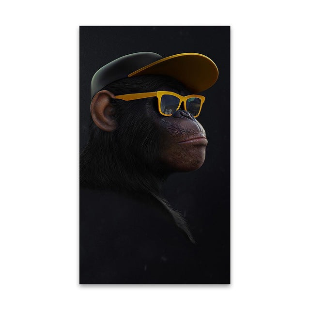 HDARTISAN Wall Art Canvas Print Animal Picture Wise Swag Chimp Painting For Living Room Home Decor No Frame|Painting & Calligraphy