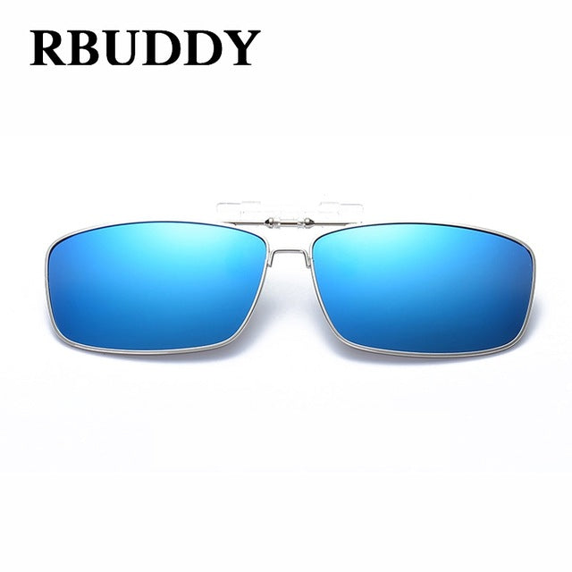 RBUDDY High Quality Polarized Clip On Sunglasses Men Mirror Driving Night Vision Clip Sun Glasses Women Travel Fishing Goggles
