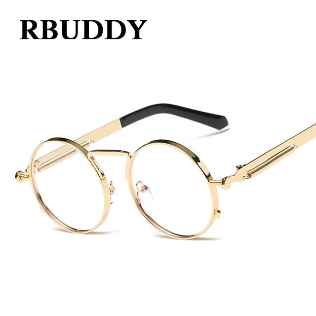 RBUDDY Classic Vintage Steampunk Small Round Sunglasses Gold Metal Frame Men Women Brand Design Fashion Gothic Sun Glasses UV400