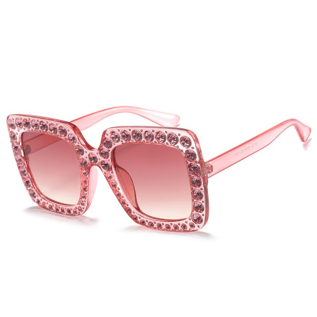 KeiKeSweet Luxury Brand Designer Italian Big Crystal Sun Glasses Square Shades Women Oversized Sunglasses Retro Top Rhinestone