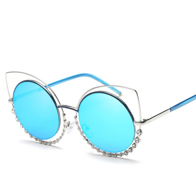 Fashion Sexy Luxury Cat Eye Sunglasses Women Coating Reflective Mirror Diamond Decoration sun Glasses Female Shades UV400