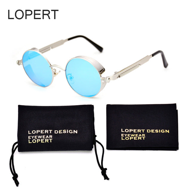 LOPERT HOT Vintage HD Steampunk Sunglasses Men Brand Designer Glasses Retro Women Gothic Coating Mirrored Sun Glasses UV400