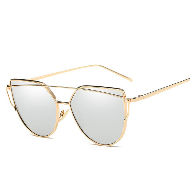Fashion Sunglasses For Women Glasses Cat Eye Sun Glasses Male Brand Mirror Sunglasses Men Flat Female Vintage Rose Gold Glasses
