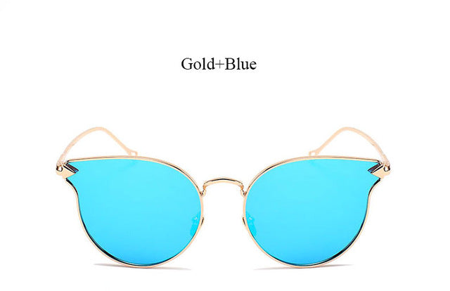 Arrow Shapes Brand Designer Rose Gold Women Mirror Cat eye Sunglasses Metal Nose pad Sun Glasses Vintage Cateye Wholesale Price