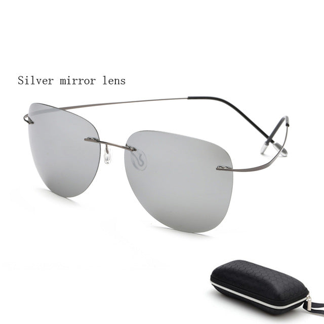 With case Polarized Titanium sunglasses Polaroid Brand Designer Rimless Gafas Men Sun glasses sunglasses for men