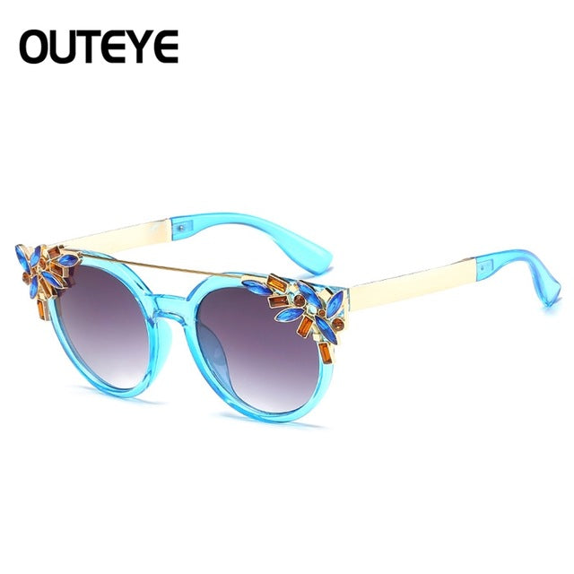 Luxury Diamond Brand Summer Beach Round Sunglasses Women Fashion Frame Sun Glasses Unique Eyeware Glasses Female