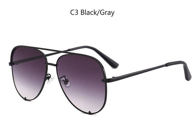 high key sunglasses rose gold metal frame aviation sun glasses women gun pink mirrored ladies black fade shades fashion brand