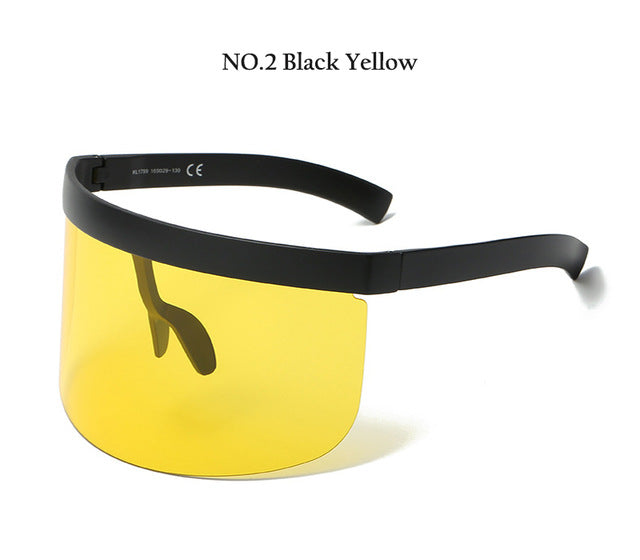 HBK Sexy Unique Oversized Sunglasses Men Vintage One Piece Lens Yellow Red Big Sun Glasses Big Frame Women Windproof UV400