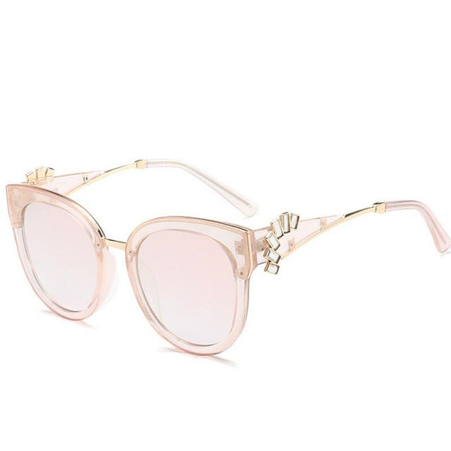 HBK Luxury Rhinestone Cateye Sunglasses For Women Brand Designer Diamond Mirror Sun Glasses Oversized Shades Female Eyewear