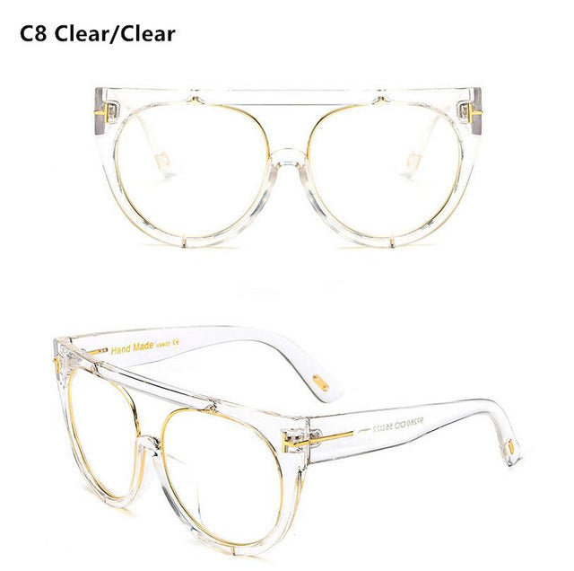 Fashion Clear Flat Top Quality Hot Square Sunglasses Men Women Luxury Brand Design Lady Sun Glasses Super star Eyewear Elegant