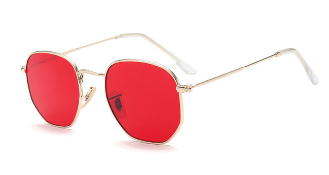 Peekaboo small square sunglasses men gold thin metal frame blue green tinted red sun glasses for women