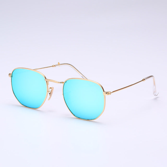 Glass lens Retro metal hexagonal round sunglasses men women luxury brand sun glasses Vintage Eyeglasses Oculos De Sol UV400