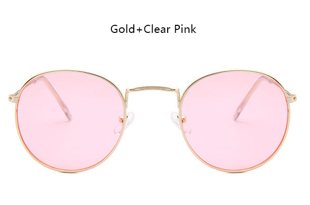 ELOT Retro Small Round Sunglasses Men Women Vintage Rose Pink Mirror Oval Sun Glasses Female Fashion Brand Designer UV400 Rays