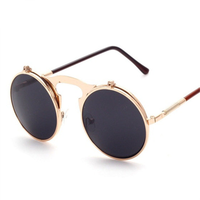 YOOSKE High Quality Steampunk Sunglasses Women Men Brand Round Clamshell Glasses Metal Frames Male Female Mirror Sun Glasses