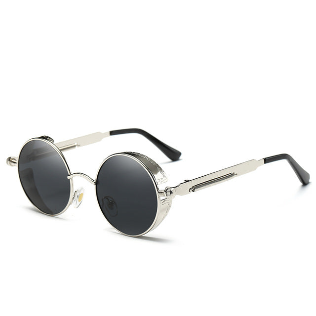 COOLPANDAS Round Sun Glasses Men & Women Polarized Sunglasses John Lennon Granny Sunglasses Gothic Steampunk Vintage Sol Eyewear