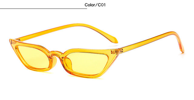 New Sunglasses Women Cat Eye Luxury Brand Designer Sun Glasses Retro Small frame Yellow ladies Red Eyewear oculos T0807
