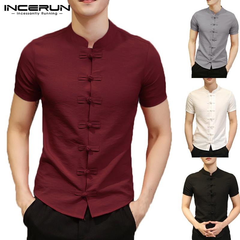 Vintage Mens Shirts Dress Short Sleeve Button Down Slim Fit Summer Chinese Style Tee Tops-Casual Shirts-INCERUN Apparel Store-Black-S-EpicWorldStore.com