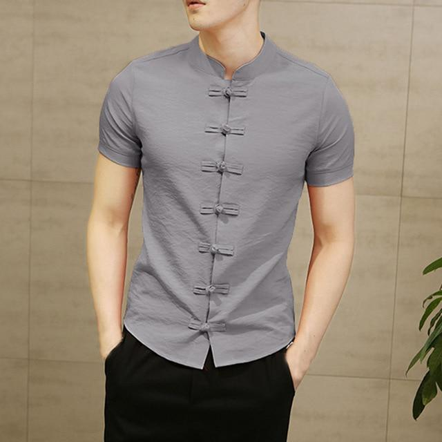Vintage Mens Shirts Dress Short Sleeve Button Down Slim Fit Summer Chinese Style Tee Tops-Casual Shirts-INCERUN Apparel Store-Grey-S-EpicWorldStore.com