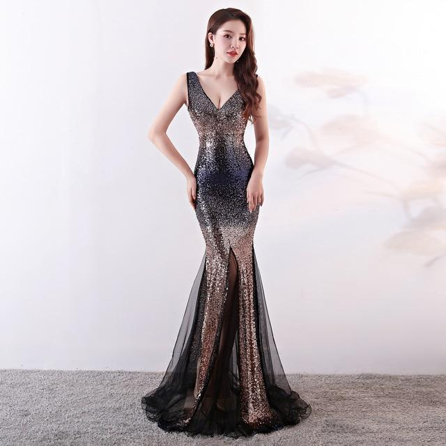 Vitiana Women Deep V Neck Mesh Sexy Party Dress Female Sleeveless Sequined Elegant Night Dresses-Home-Children's Corner Store-Gold-S-EpicWorldStore.com