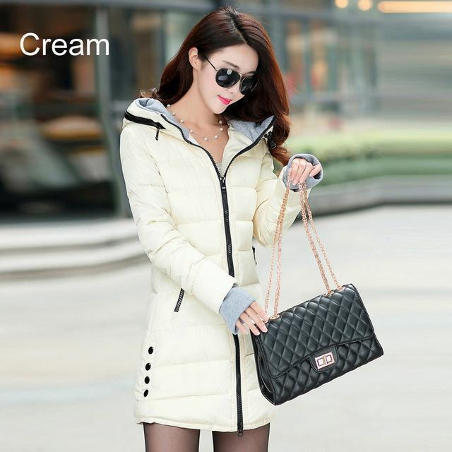 Warm Winter Jackets Women Down Cotton Parkas Casual Hooded Long Coat Thickening Parka-Jackets & Coats-SheBlingBling Store-Cream-M-MostlyShades.com