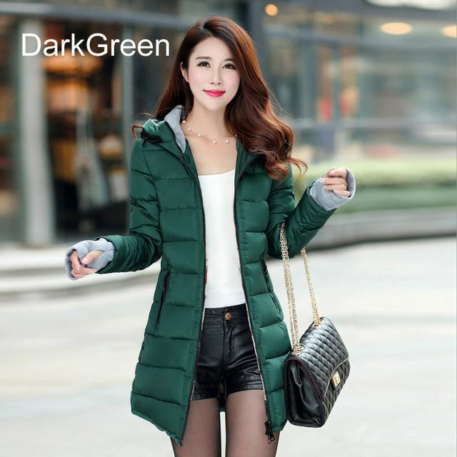 Warm Winter Jackets Women Down Cotton Parkas Casual Hooded Long Coat Thickening Parka-Jackets & Coats-SheBlingBling Store-Dark Green-M-MostlyShades.com
