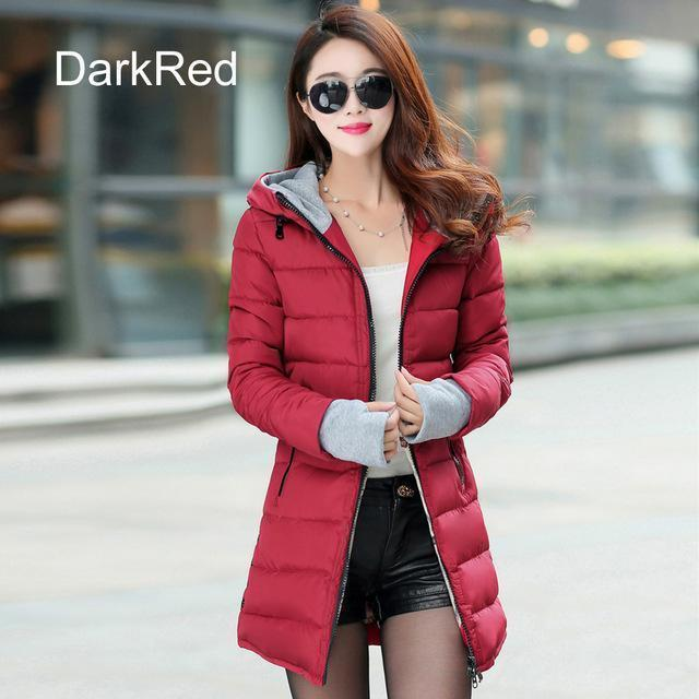 Warm Winter Jackets Women Down Cotton Parkas Casual Hooded Long Coat Thickening Parka-Jackets & Coats-SheBlingBling Store-Dark Red-M-MostlyShades.com