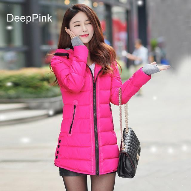 Warm Winter Jackets Women Down Cotton Parkas Casual Hooded Long Coat Thickening Parka-Jackets & Coats-SheBlingBling Store-Deep Pink-M-MostlyShades.com