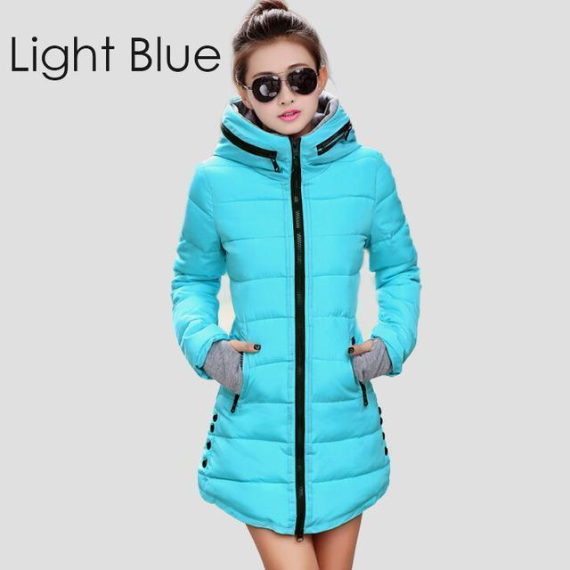 Warm Winter Jackets Women Down Cotton Parkas Casual Hooded Long Coat Thickening Parka-Jackets & Coats-SheBlingBling Store-Light Blue-M-MostlyShades.com