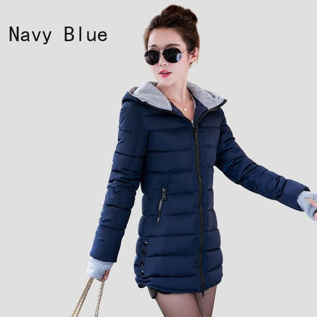 Warm Winter Jackets Women Down Cotton Parkas Casual Hooded Long Coat Thickening Parka-Jackets & Coats-SheBlingBling Store-Navy Blue-M-MostlyShades.com