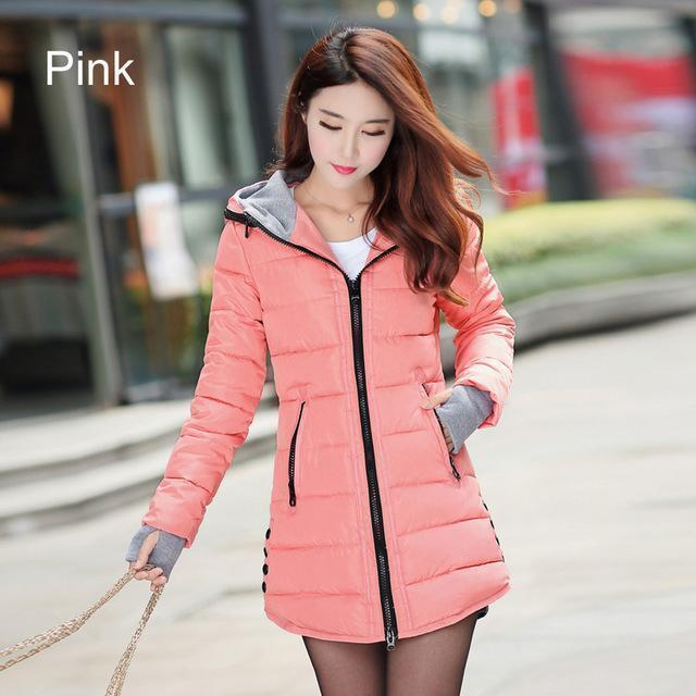 Warm Winter Jackets Women Down Cotton Parkas Casual Hooded Long Coat Thickening Parka-Jackets & Coats-SheBlingBling Store-Pink-M-MostlyShades.com