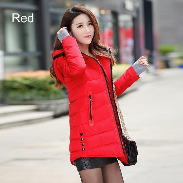 Warm Winter Jackets Women Down Cotton Parkas Casual Hooded Long Coat Thickening Parka-Jackets & Coats-SheBlingBling Store-Red-M-MostlyShades.com