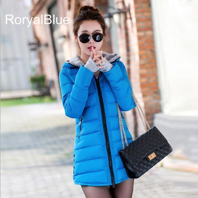 Warm Winter Jackets Women Down Cotton Parkas Casual Hooded Long Coat Thickening Parka-Jackets & Coats-SheBlingBling Store-Royal Blue-M-MostlyShades.com