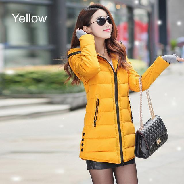 Warm Winter Jackets Women Down Cotton Parkas Casual Hooded Long Coat Thickening Parka-Jackets & Coats-SheBlingBling Store-Yellow-M-MostlyShades.com