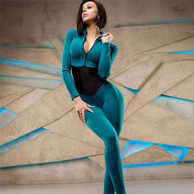 Weirdgirl Women New Bodysuit Casual Fashion Fitness Jumpsuit Long Sleeve Full Length Slim Skinny-Home-whatiwear Official Store-Green-S-EpicWorldStore.com