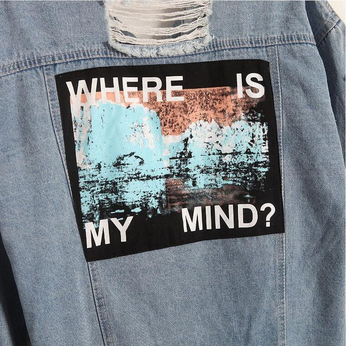 Where Is My Mind? Korea Retro Washing Frayed Embroidery Letter Patch Jeans Bomber Jacket Light-Jackets & Coats-Sky Town Store-S-MostlyShades.com