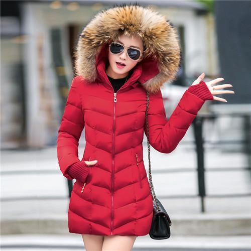 Winter Jacket Women Slim Long Cotton-Padded Hooded Jacket Parka Female Wadded Jacket-Jackets & Coats-gzgog1 Store-Red-S-MostlyShades.com