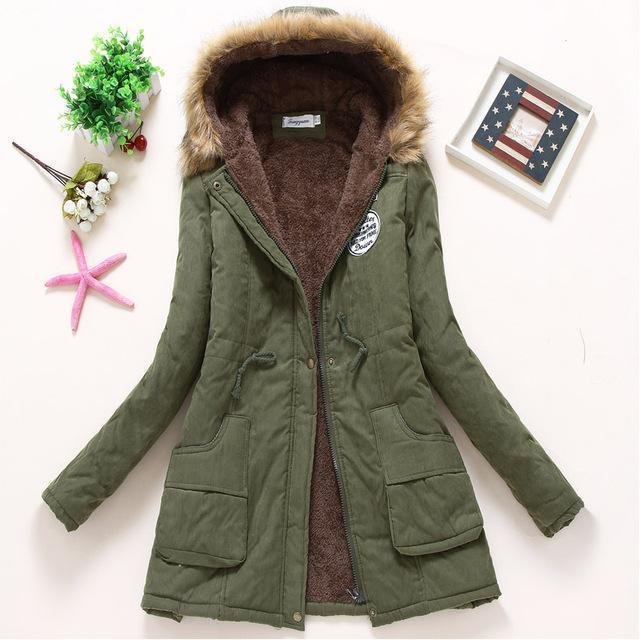 Winter Jacket Women Wadded Jacket Female Outerwear Slim Winter Hooded Coat Long Cotton Padded-Jackets & Coats-Shop2142199 Store-army green-S-MostlyShades.com