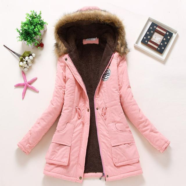 Winter Jacket Women Wadded Jacket Female Outerwear Slim Winter Hooded Coat Long Cotton Padded-Jackets & Coats-Shop2142199 Store-light pink-S-MostlyShades.com