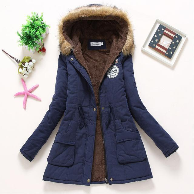 Winter Jacket Women Wadded Jacket Female Outerwear Slim Winter Hooded Coat Long Cotton Padded-Jackets & Coats-Shop2142199 Store-navy blue-S-MostlyShades.com