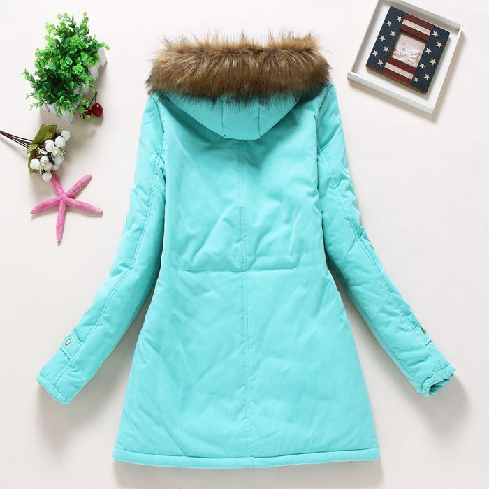 Winter Jacket Women Wadded Jacket Female Outerwear Slim Winter Hooded Coat Long Cotton Padded-Jackets & Coats-Shop2142199 Store-pea green-S-MostlyShades.com