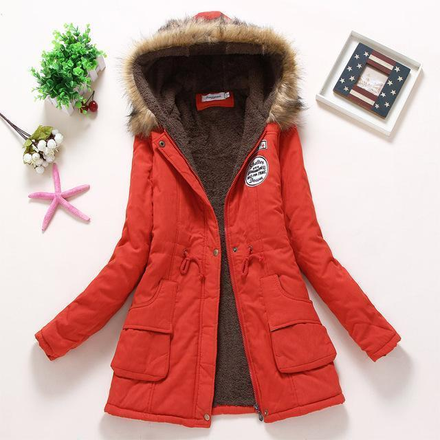 Winter Jacket Women Wadded Jacket Female Outerwear Slim Winter Hooded Coat Long Cotton Padded-Jackets & Coats-Shop2142199 Store-red-S-MostlyShades.com