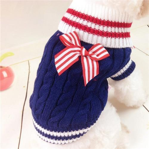 Winter Puppy Coat Navy Dog Sweater For Small Dogs Clothes Warm Outfit Chihuahua Pet Clothing Bowknot-Dog Sweaters-PAKLAW Store-navy blue-XS-EpicWorldStore.com