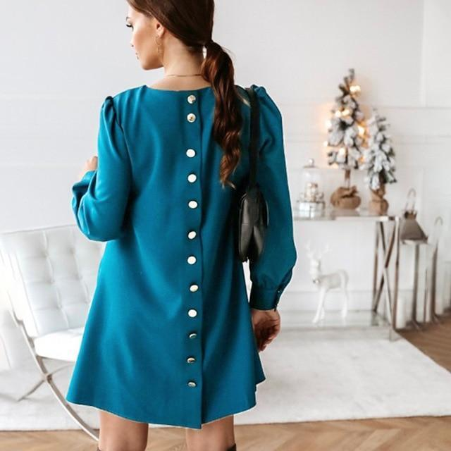 Women Back Metal Buttons O Neck Shirt Mini Dress Summer Long Sleeve Elegant A Line Female Dress 2020-Home-MCCKLE Official Store-Blue-S-EpicWorldStore.com