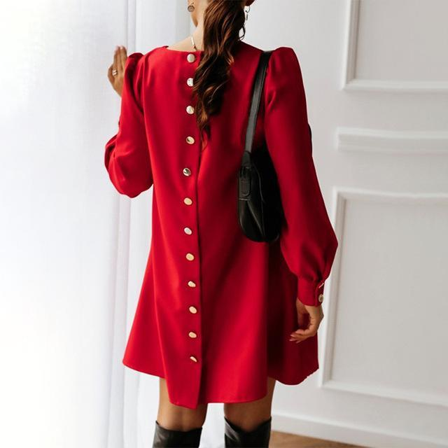 Women Back Metal Buttons O Neck Shirt Mini Dress Summer Long Sleeve Elegant A Line Female Dress 2020-Home-MCCKLE Official Store-Red-S-EpicWorldStore.com
