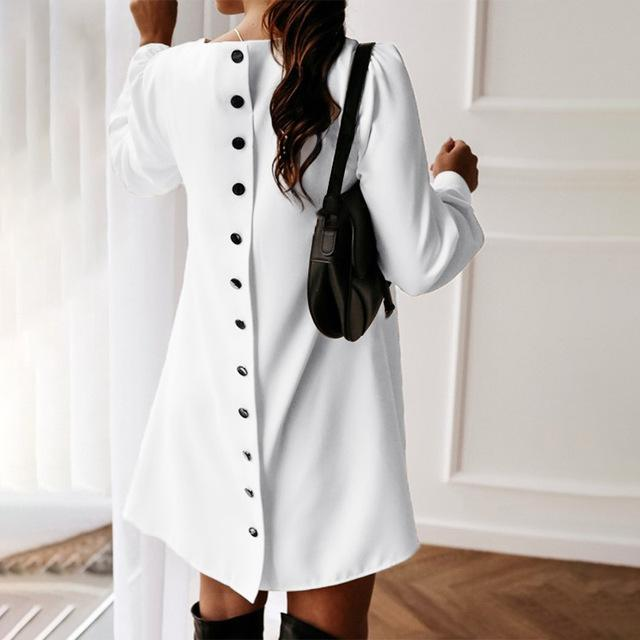 Women Back Metal Buttons O Neck Shirt Mini Dress Summer Long Sleeve Elegant A Line Female Dress 2020-Home-MCCKLE Official Store-White-S-EpicWorldStore.com