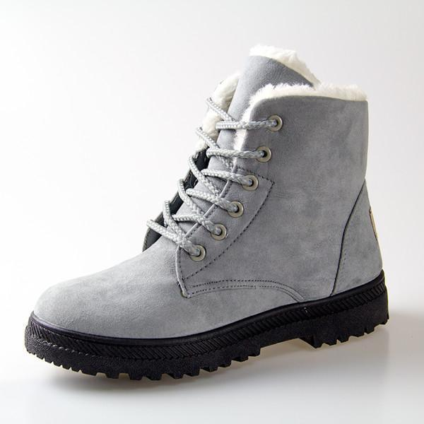 Women Boots Women Winter Boots Warm Snow Boots Platform Shoes Women-Women's Boots-Best Product Best Show-Grey-4.5-MostlyShades.com
