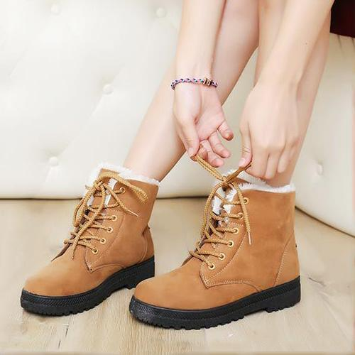 Women Boots Women Winter Boots Warm Snow Boots Platform Shoes Women-Women's Boots-Best Product Best Show-Khaki-4.5-MostlyShades.com