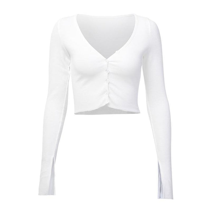 Women Long Sleeve Crop Tops Sexy Deep V Neck Basic Solid Black White Lady Casual Tshirt Sexy Off-T-Shirts-INSGOTH Store-White-S-EpicWorldStore.com