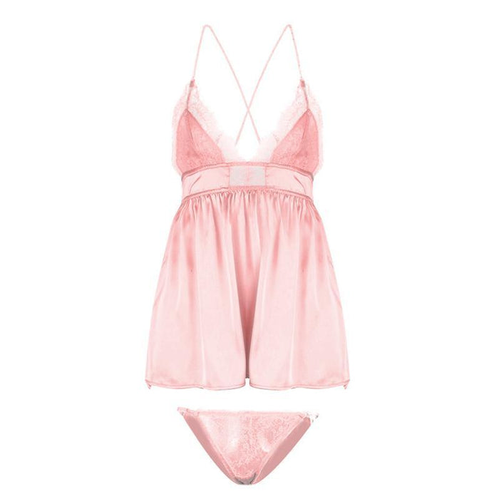 Women Sleepwear Satin Nightwear Lace Deep V Neck Nightdress Sexy Lingerie Nightgowns Sleeveless Faux-Home-MISEYA SEXY Store-Pink-M-EpicWorldStore.com