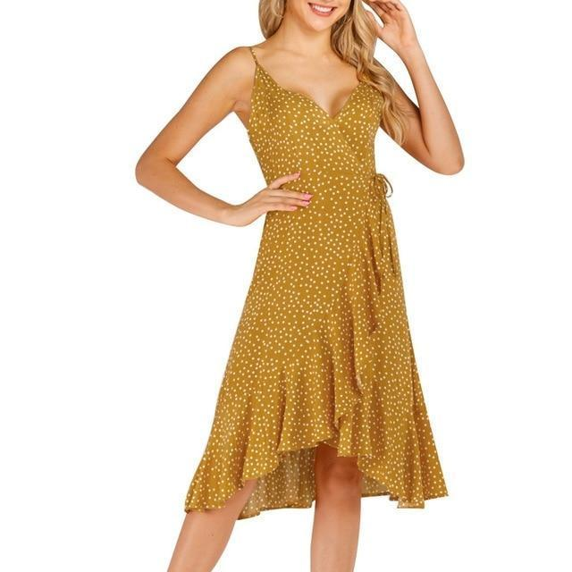 Women Vintage Long Sleeve Chiffon Summer Dress Summer Strappy V Neck Sun Dress Ladies Polka Dot-Dresses-Susenstone dropshipping Store-Yellow-S-EpicWorldStore.com